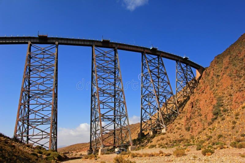 LaPolvorilla viadukt, Tren en Las Nubes som är nordvästlig av Argentina royaltyfria bilder