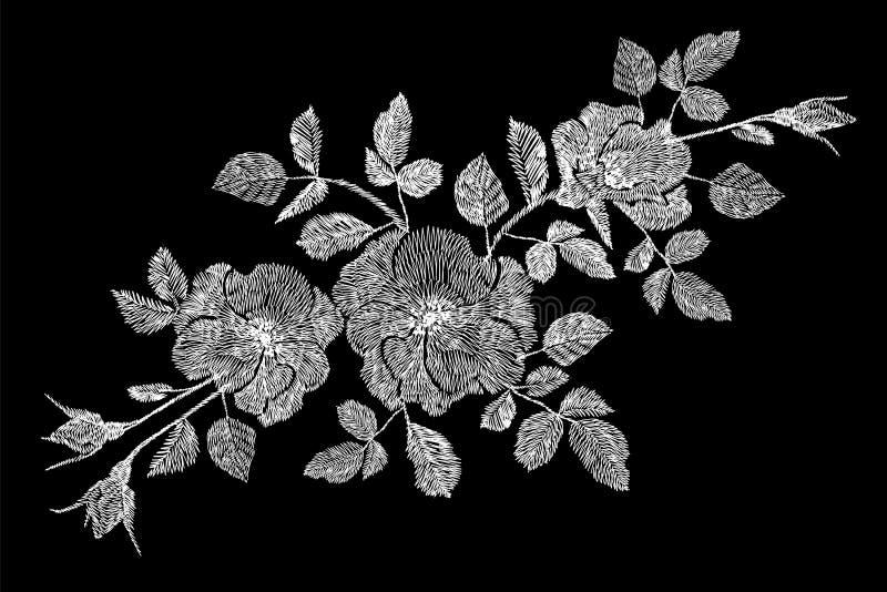Lapp för briar för dogrose för vildblomma för ros för broderiblommavit Garnering för prydnad för modetrycktextil på svart illustr stock illustrationer
