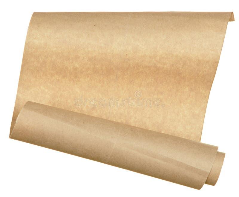 Lappa gammalt pappers- hoprullat i rulle som isoleras på vit bakgrund royaltyfri bild