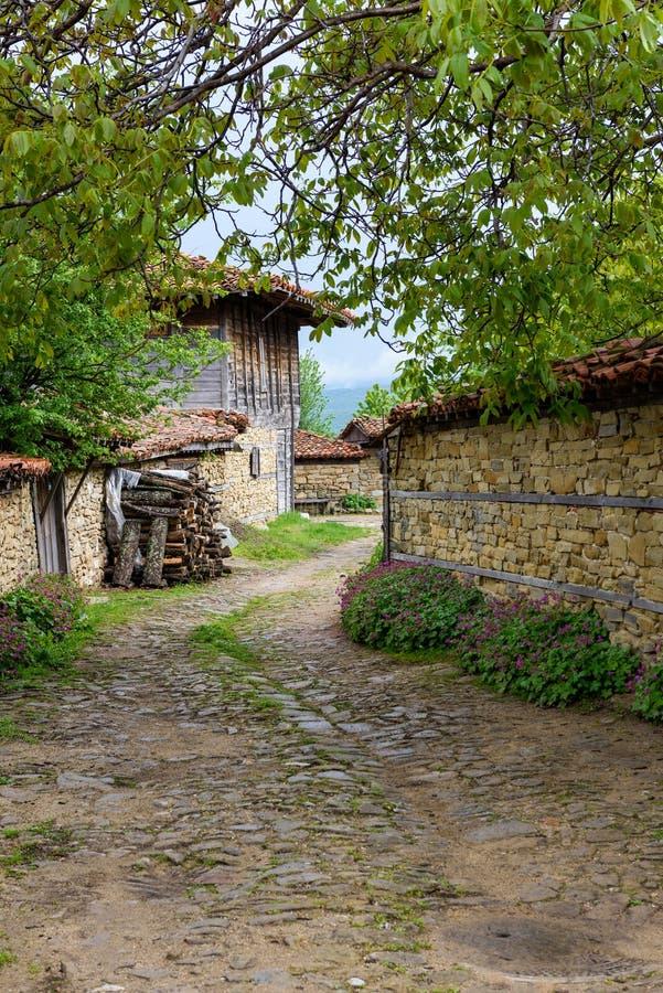 Lappad väg, gamla traditionella hus och valnötträdfilialer i Zheravna, Bulgarien royaltyfri foto