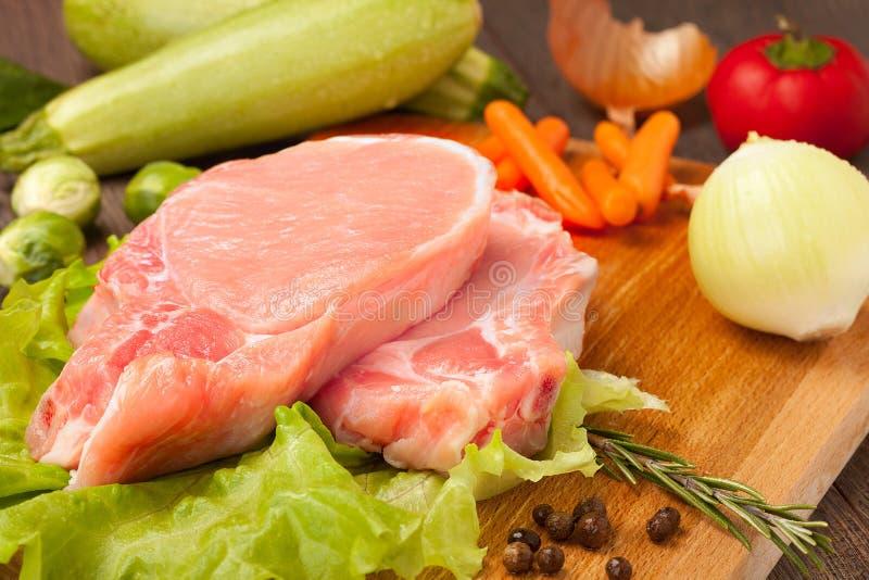 Lappar av rå meat