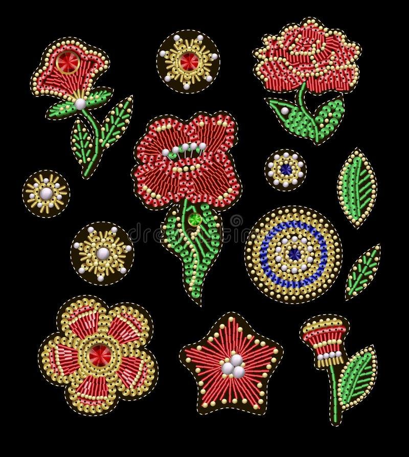 Lappar för textil planlägger eller skrivar ut med blommor, broderade paljetter, pryder med pärlor och pryder med pärlor Vektormod royaltyfri illustrationer