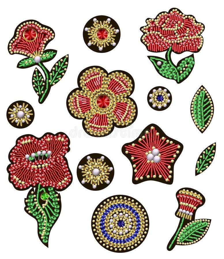 Lappar för textil planlägger eller skrivar ut med blommor, broderade paljetter, pryder med pärlor och pryder med pärlor Vektormod stock illustrationer