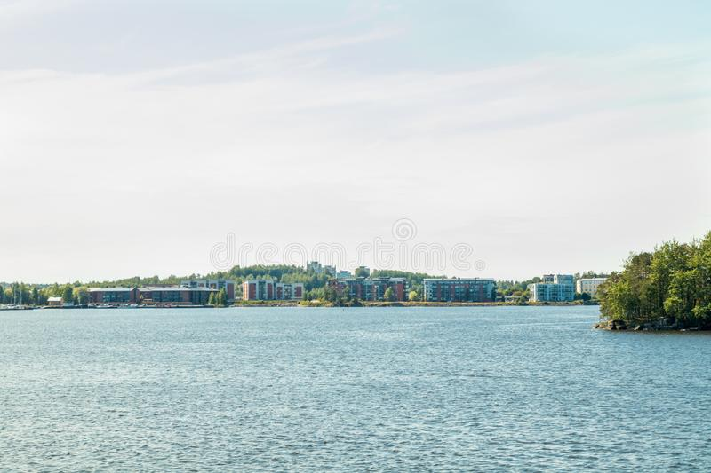 Lappeenranta, Finland - August 7, 2019: A view of the houses in the harbor of lake Saimaa.  royalty free stock images