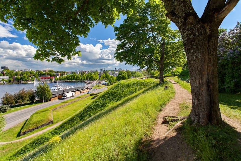Lappeenranta, Finland - het centrum van de stad, Saima-meer stock foto's