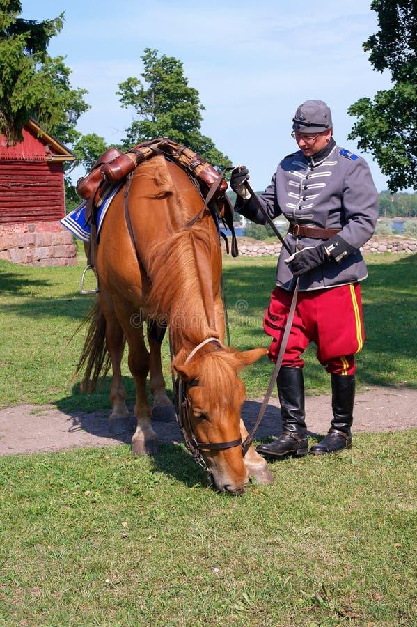 Lappeenranta, Finland - Juli 28, 2011: Opgezette patrouillepolitie Lappeenranta stock fotografie