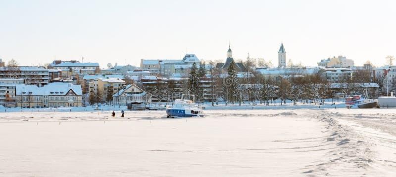 Lappeenranta Finlandia Zamarznięty Saimaa jezioro zdjęcia royalty free