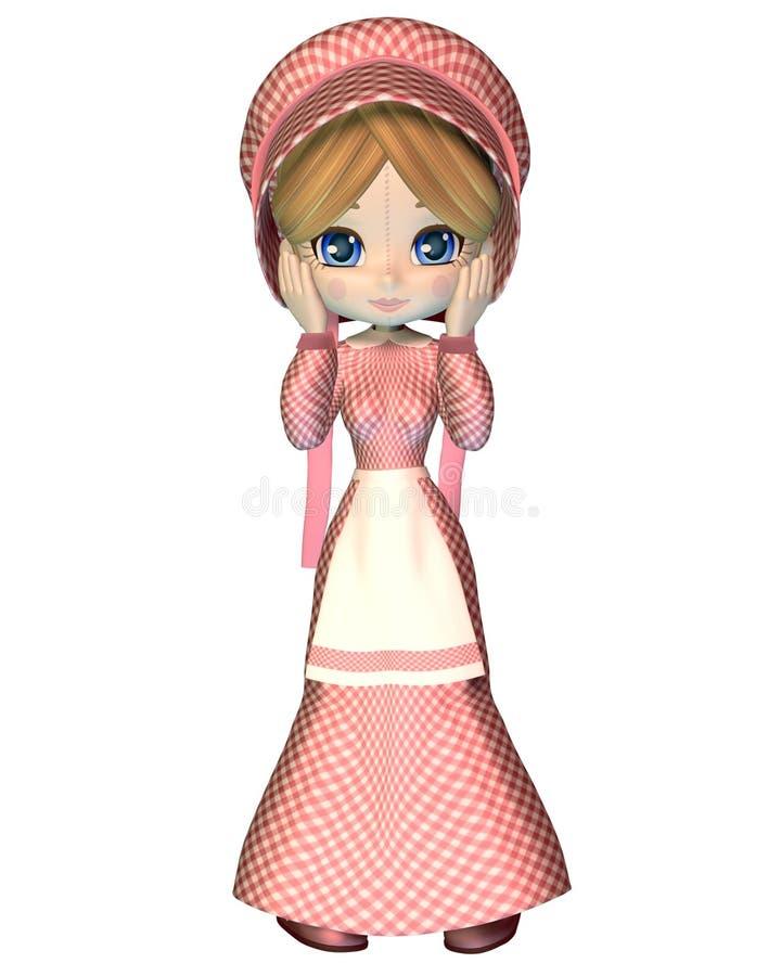Lappen-Puppe im rosafarbenen Gingham-Kleid und der Mütze lizenzfreie abbildung