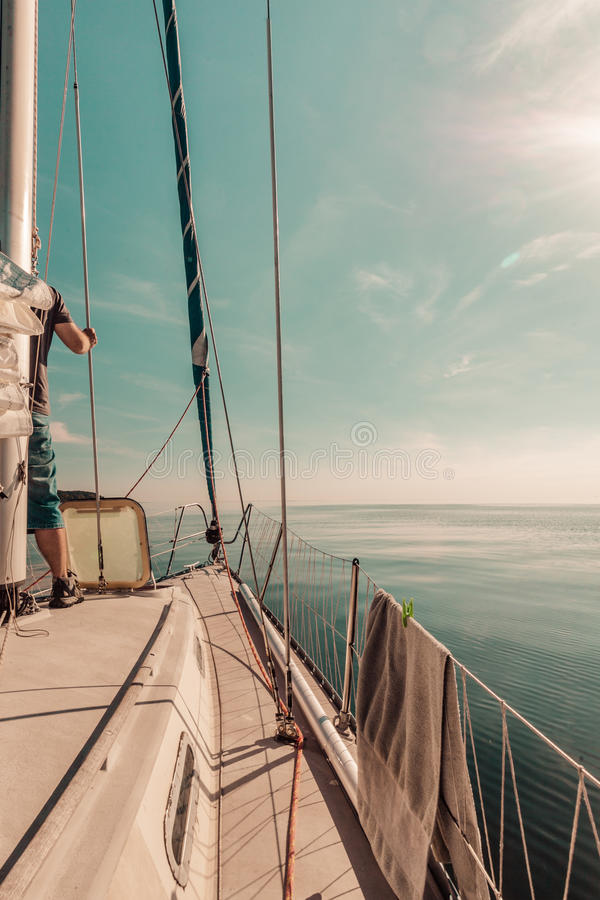 Lapper φλόκος κυλίνδρων της Γένοβας, jibsheet στη βάρκα στοκ φωτογραφία