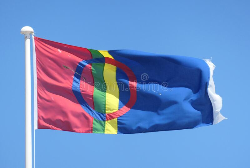 Lapplands flagg royaltyfri fotografi
