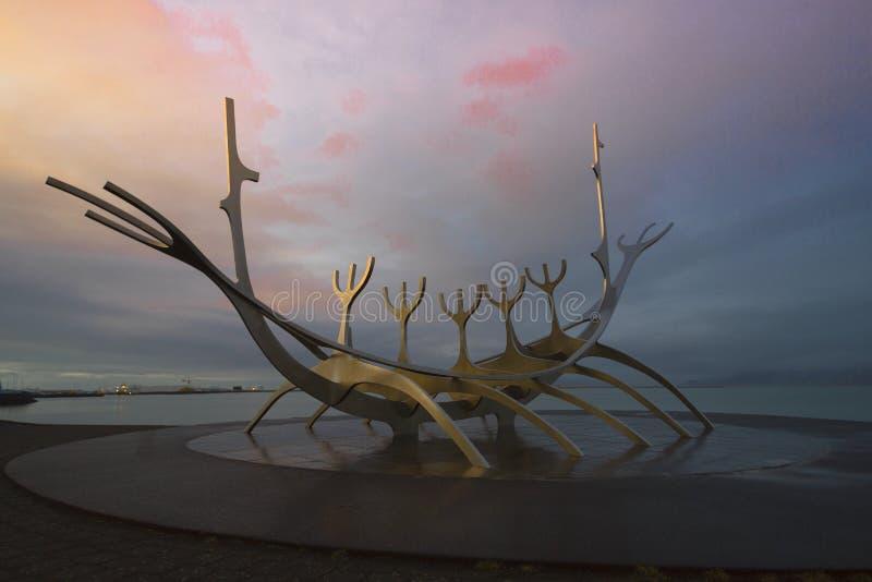 Laps de temps du Sun Voyager à Reykjavik, Islande photo stock