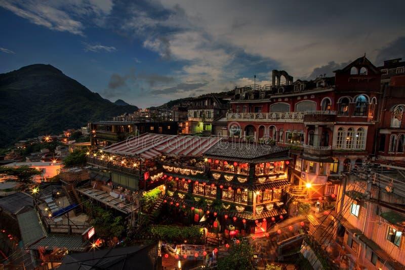 Lapso de tiempo de los salones de té de la ladera en Jiufen, Taiwán imagen de archivo libre de regalías