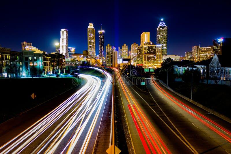 Lapso de tiempo del tráfico de Atlanta fotos de archivo