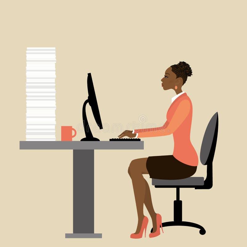 Lapto afroamericano de Working On del oficinista o de la empresaria libre illustration