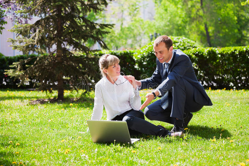 laptopów biznesowi ludzie fotografia royalty free