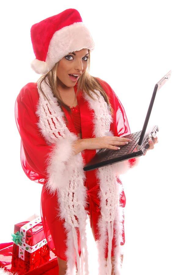 laptop świątecznej Mikołaja obrazy stock