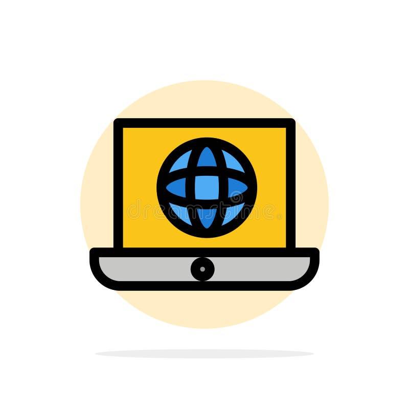 Laptop, świat, kula ziemska, Technicznego Abstrakcjonistycznego okręgu tła koloru Płaska ikona ilustracja wektor