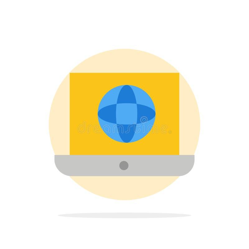 Laptop, świat, kula ziemska, Technicznego Abstrakcjonistycznego okręgu tła koloru Płaska ikona royalty ilustracja