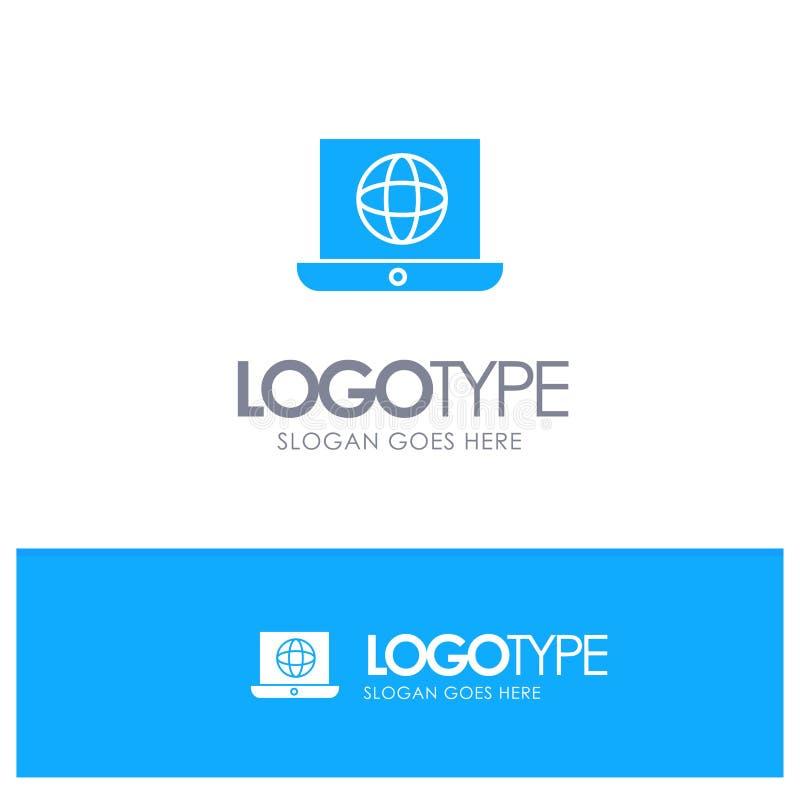 Laptop, świat, kula ziemska, Techniczny Błękitny Stały logo z miejscem dla tagline ilustracja wektor