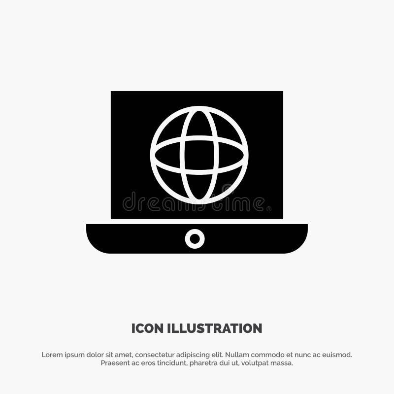 Laptop, świat, kula ziemska, Techniczny stały glif ikony wektor ilustracja wektor