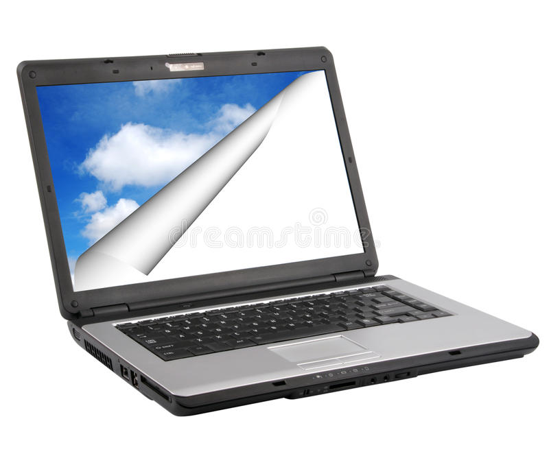 Laptop. On isolated background, clouds in screen