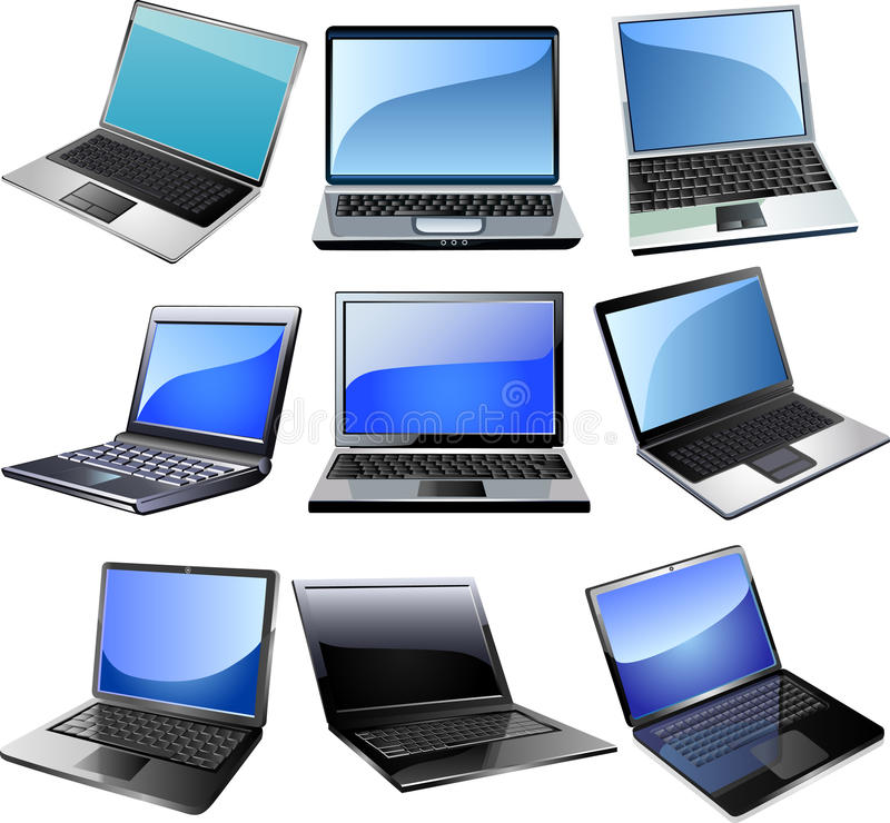 Laptop. Icon set on bright background