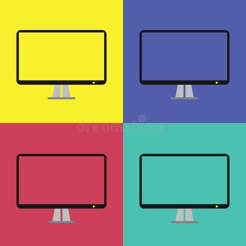 Modern flat screen computer monitor flat style. Computer display isolated. Modern flat screen computer monitor flat style. with color option stock illustration