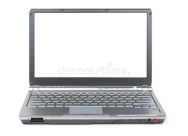 Laptop. New laptop isolated with clipping path over white background. Front view