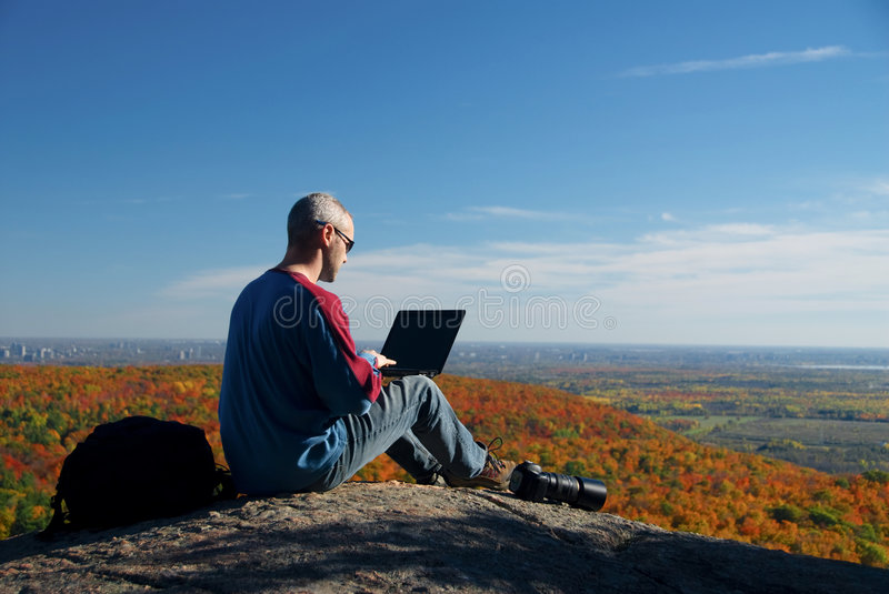 On the laptop stock images