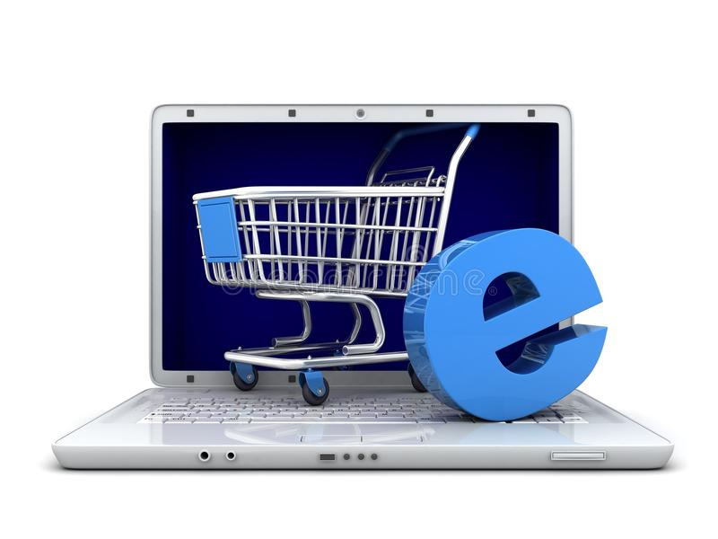 Download Laptop and abstract e-shop stock illustration. Illustration of render - 33578072