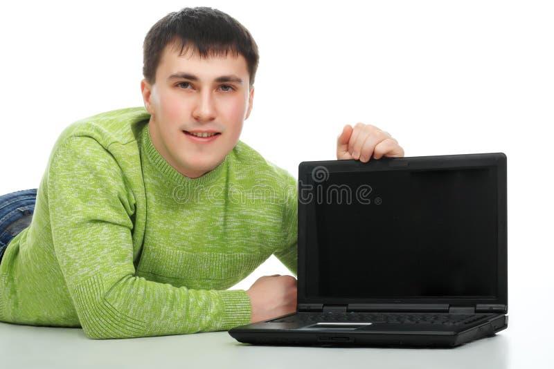 Laptop advertentie stock afbeeldingen