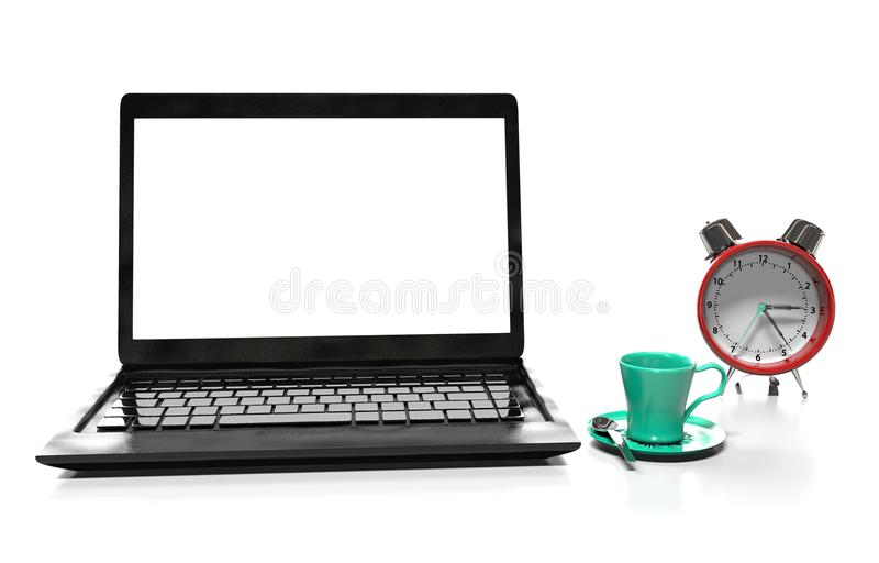 Laptop and alarm clock, 3D illustration. Alarm clock, laptop and cup of hot thea on table royalty free illustration