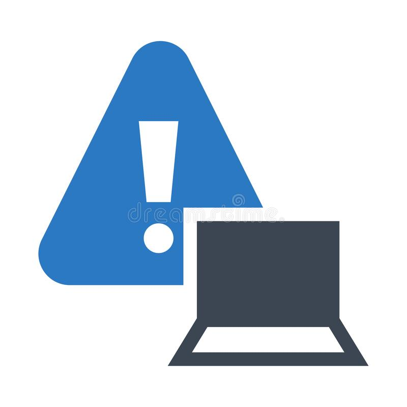 Laptop alert glyphs double color icon royalty free illustration