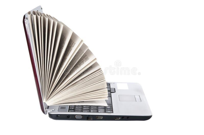 Laptop als boek stock foto