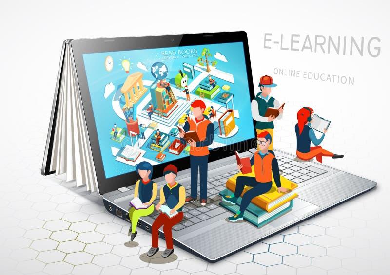 Laptop als Buch Das Konzept des Lernens Schwarzer Hahn auf einem Weiß Vektor stock abbildung