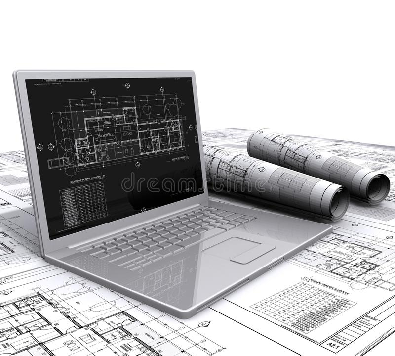 Free Laptop Architectural Plans Royalty Free Stock Photography - 23702317