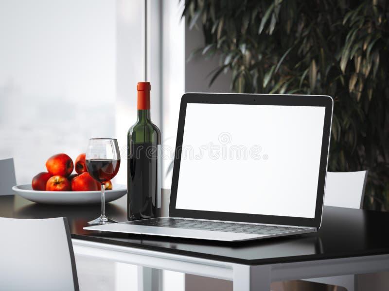 Laptop auf dem Tisch mit Flasche Wiedergabe 3d lizenzfreie stockbilder
