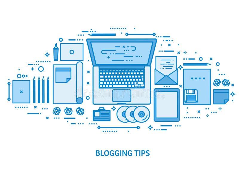 Laptop auf einer Tabelle Erz?hlen Sie Ihre Geschichte autor Bloggende Plattform Flacher blauer Entwurfshintergrund Linie Kunstvek vektor abbildung