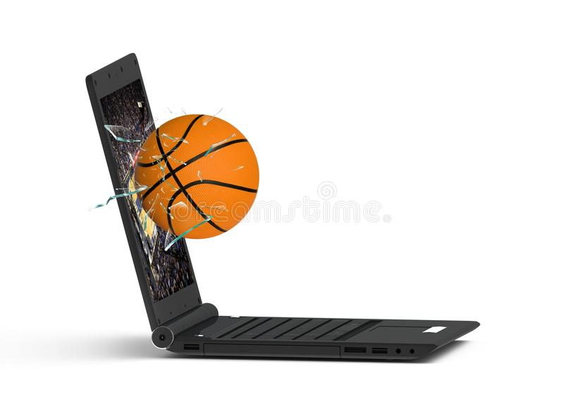 Laptop and basketball stock illustration