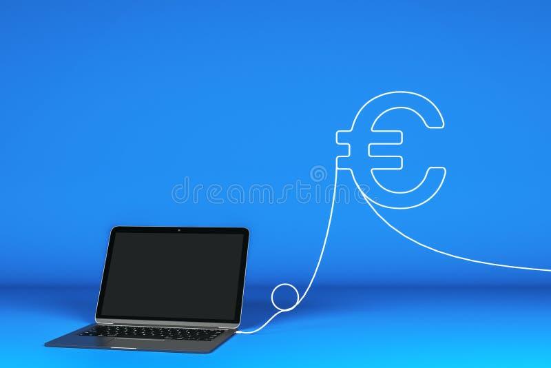 laptop in bianco con euro illustrazione vettoriale