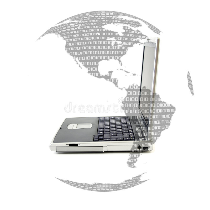 Laptop & binary world royalty free illustration