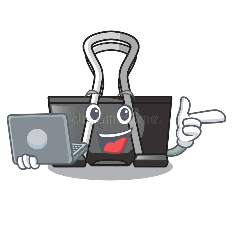 With laptop binder clip in the character shape. Vector illustration stock illustration