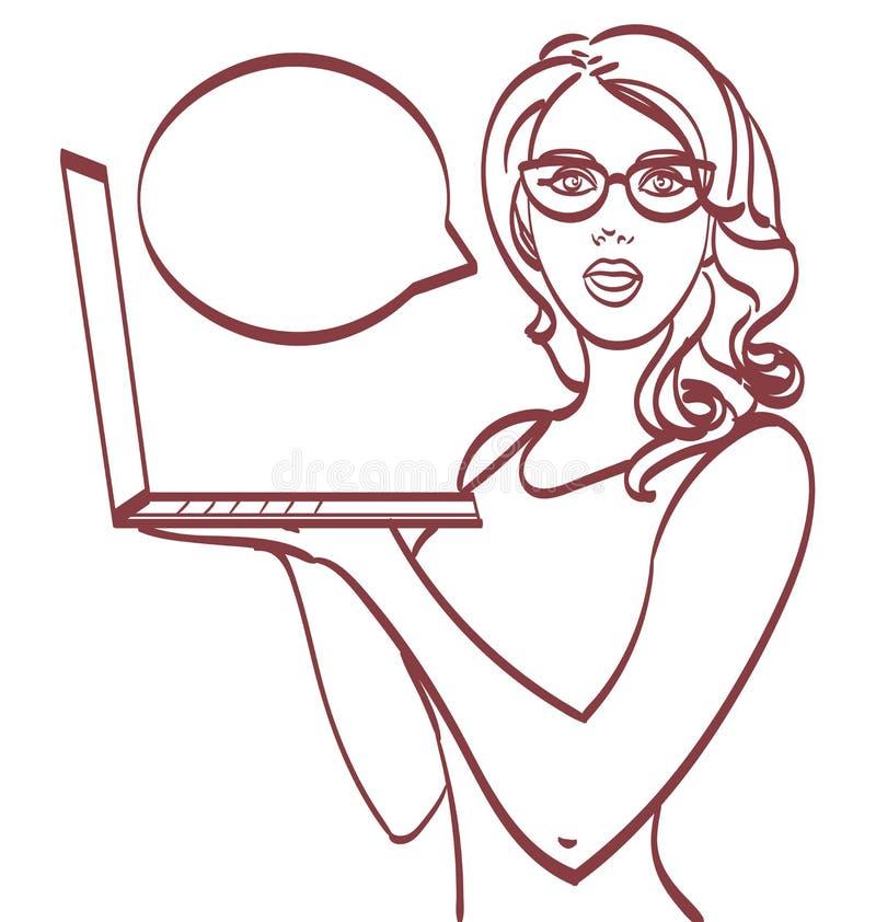 laptop biznesowej kobieta Wystrzał sztuki styl, eps 10 na warstwach ilustracji