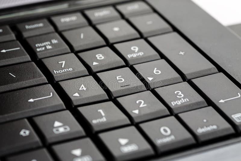 Laptop black keyboard with numbers closeup shot.  royalty free stock photos