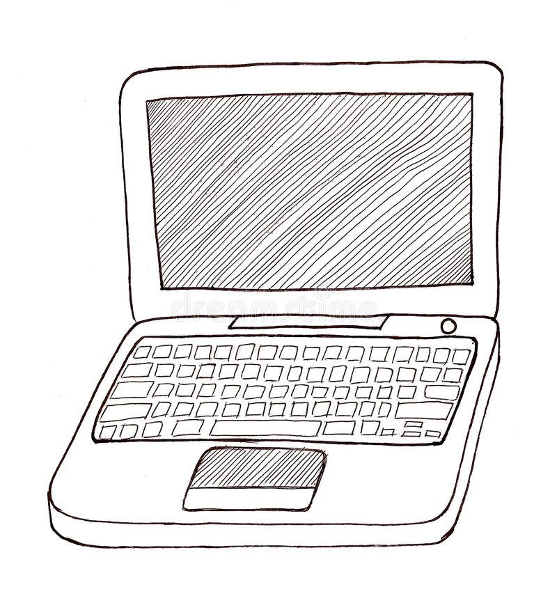 Download Laptop Black and White stock illustration. Illustration of apple - 9957734