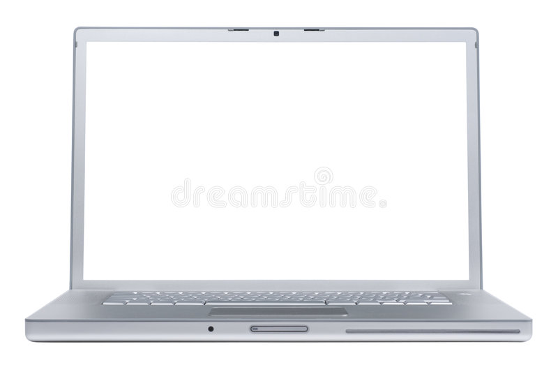 Laptop with blank monitor stock photos