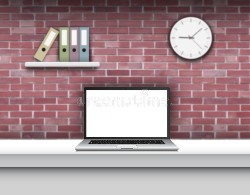 Laptop with blank screen on desk in home interior. royalty free illustration