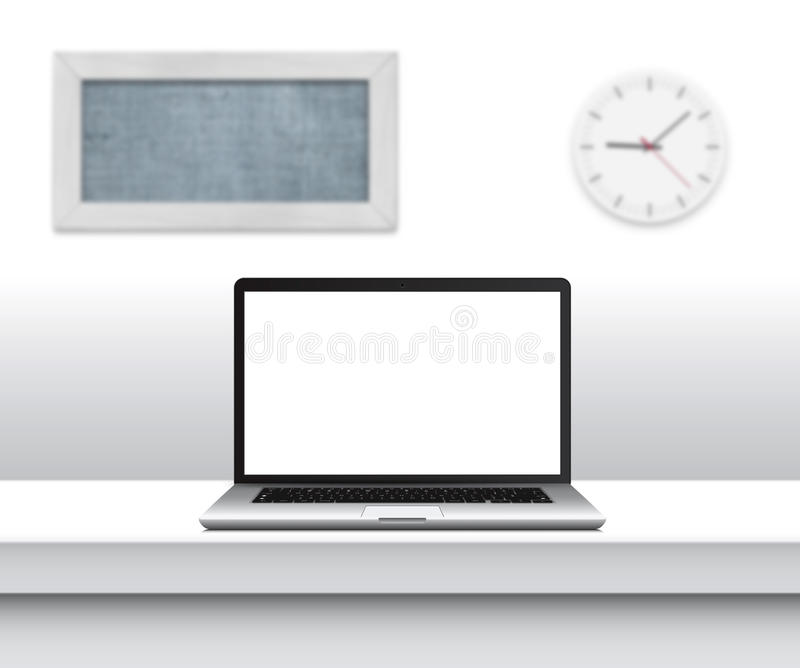 Laptop with blank screen on desk in minimalistic office interior. vector illustration
