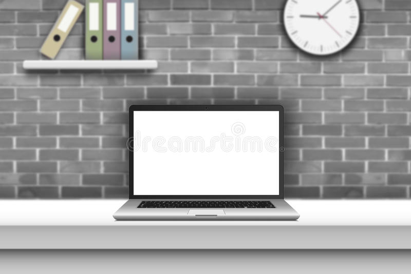 Laptop with blank screen on desk in office interior. Laptop, notebook or ultrabook thin body with blank screen on desk in office interior vector illustration