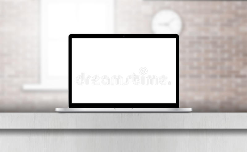 Laptop, with blank screen on desk in office interior. Laptop notebook or ultrabook thin body with blank screen on desk in office interior royalty free illustration